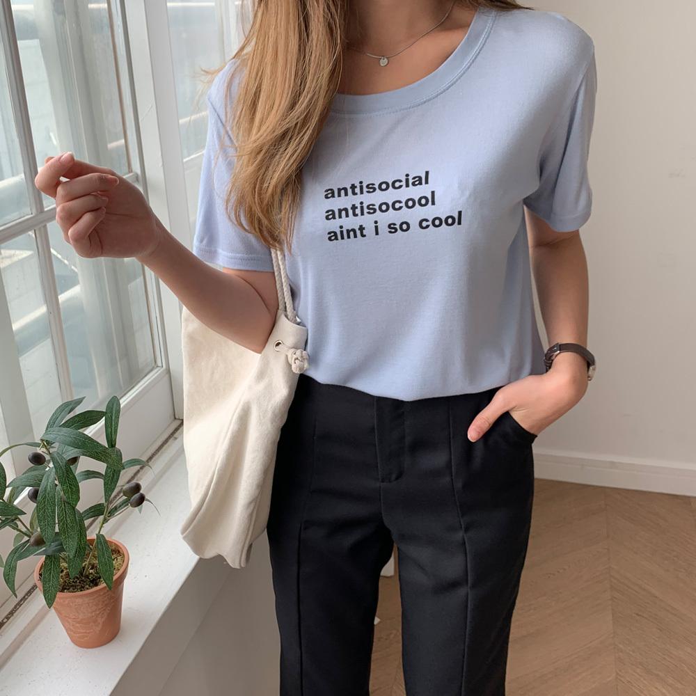 여성 기본 영문 찰랑 레터링 반팔 티셔츠