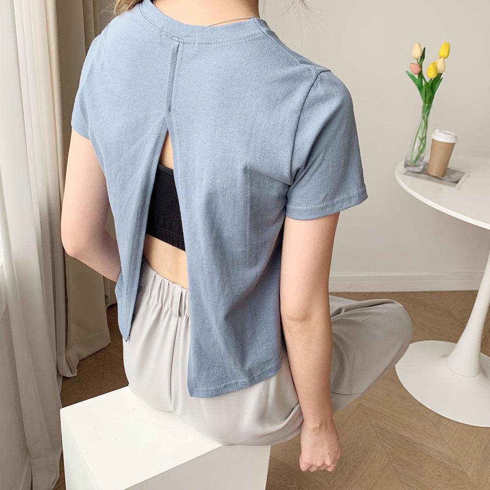 페미닌 뒷트임 반팔 크롭 얇은 기본 티셔츠