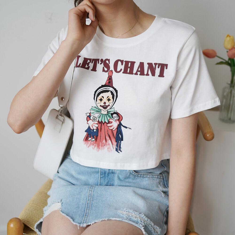 데일리 라운드 반팔 플린팅 나염 티셔츠