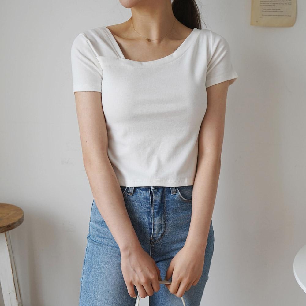 기본 여성 슬림 반팔 사선 언발 티셔츠