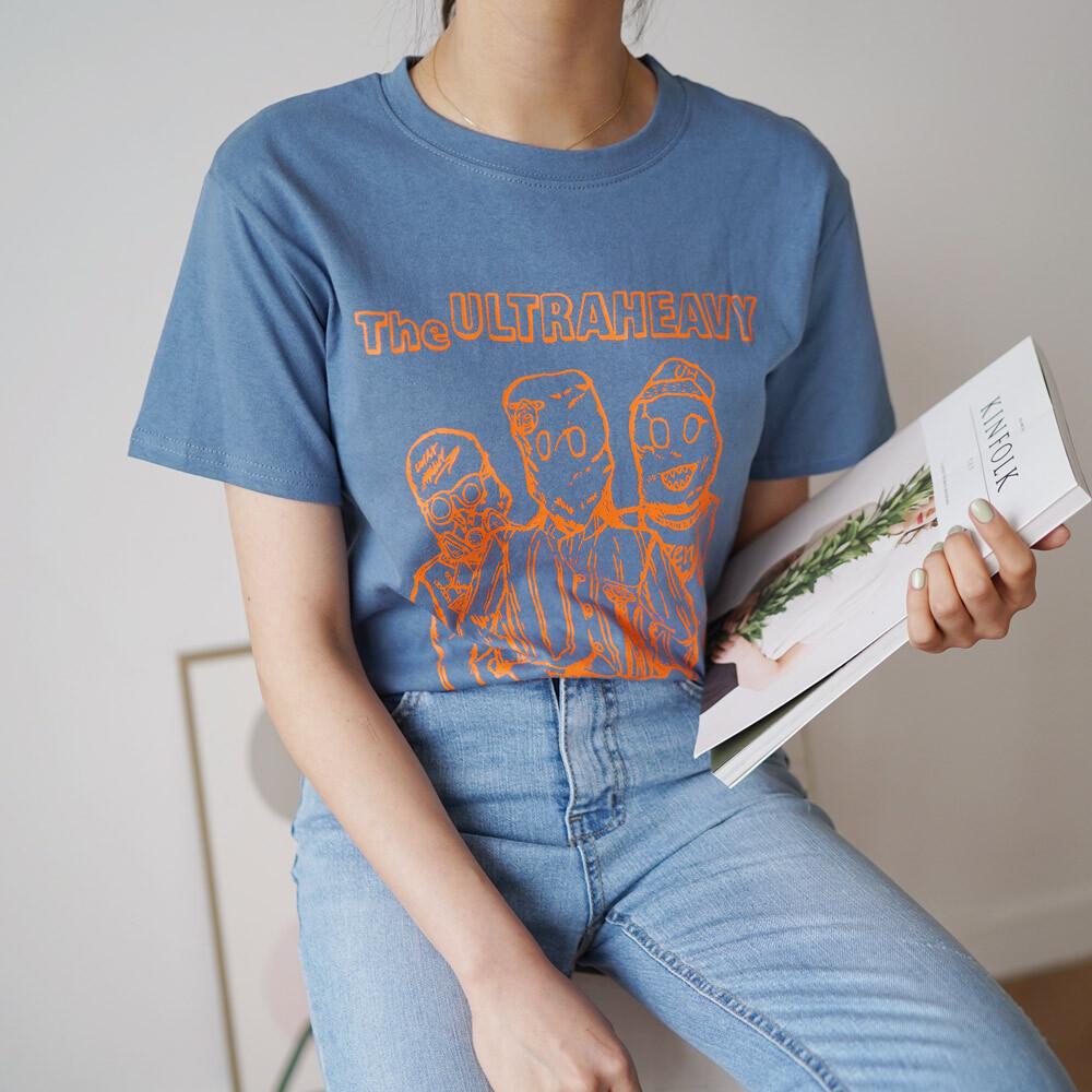 영문 레터링 프린팅 반팔 라운드 티셔츠