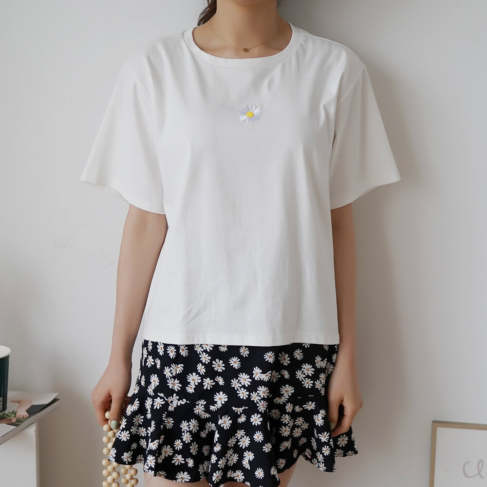 여름 나염 프린팅 반팔 라운드 자수 티셔츠