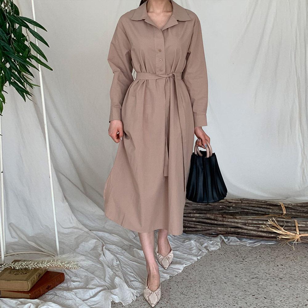 [DRESS]레비트 라운딩 셔츠원피스