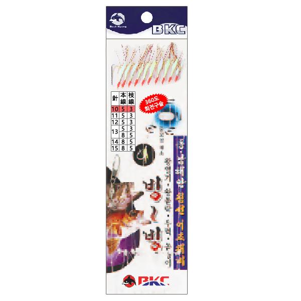 백경조침/ 침선어초외줄채비 10본 어피 BK-335