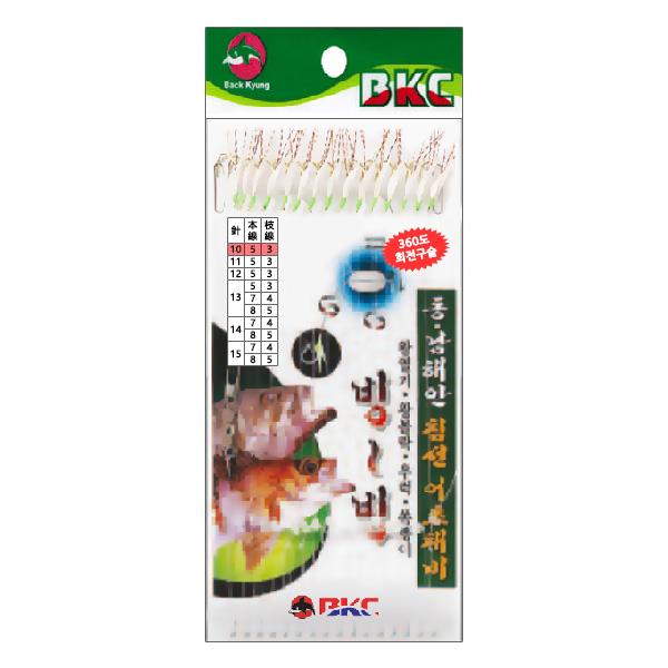 백경조침/ 침선어초외줄채비 15본 어피 BK-336