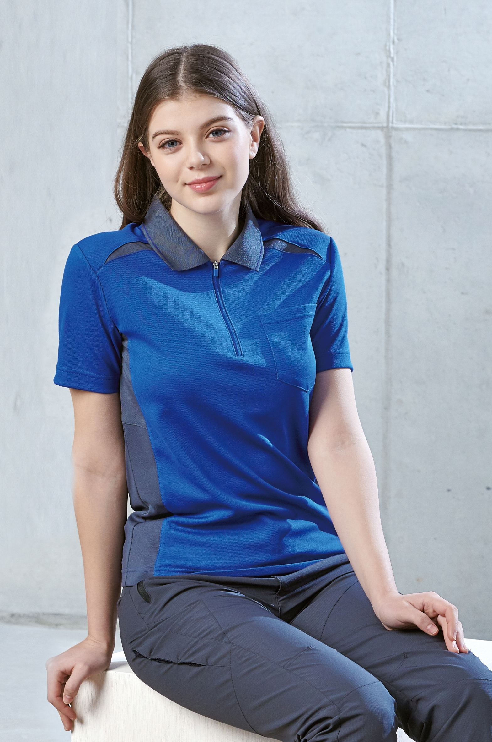 ZB-T2036 (블루.쿨론)지벤 춘하 작업복 티셔츠