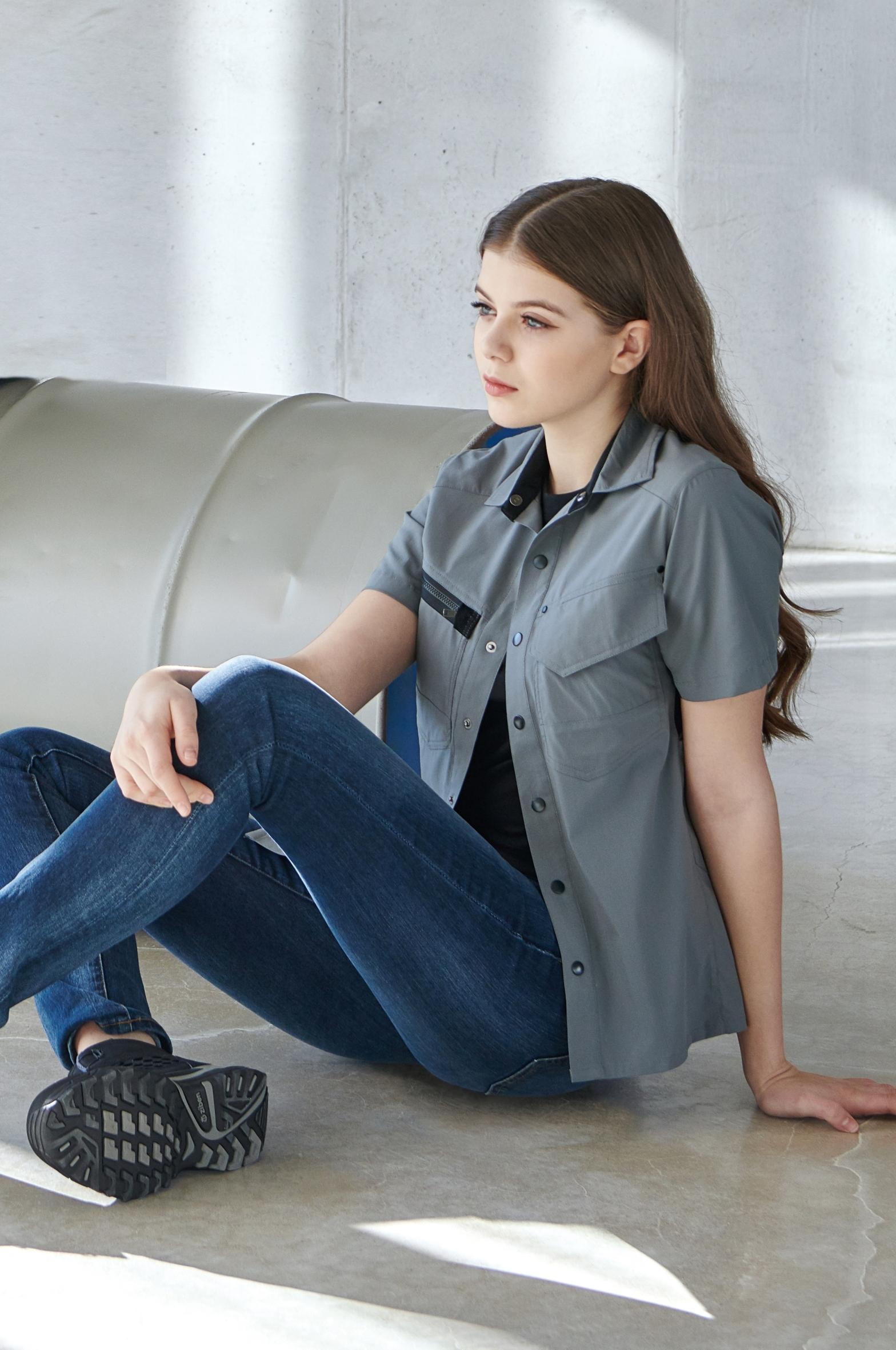 ZB-Y2042 (그레이.스판)지벤 춘하 작업복 셔츠