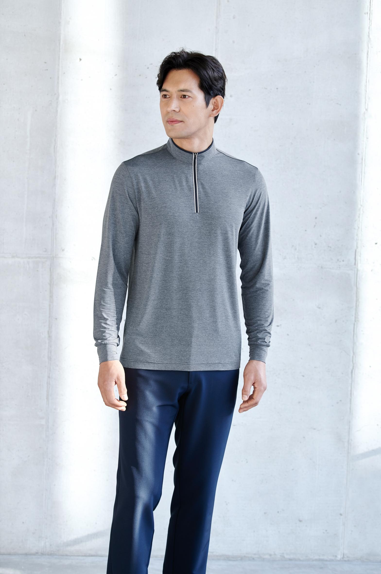 ZB-T2132 (멜란지네이비)지벤 긴팔 티셔츠(냉감/집업)