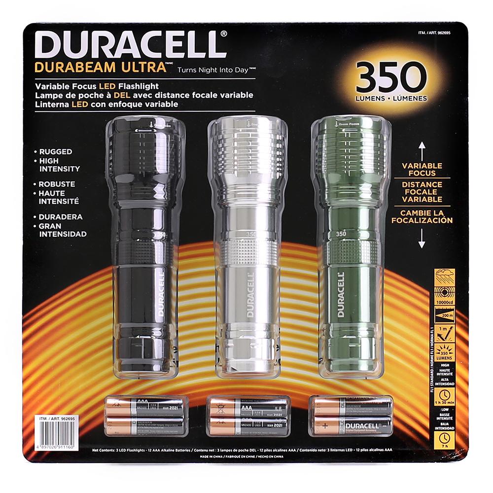 Duracell 350 Lumen LED Flashlight 3 Pack/Durabeam Ultra