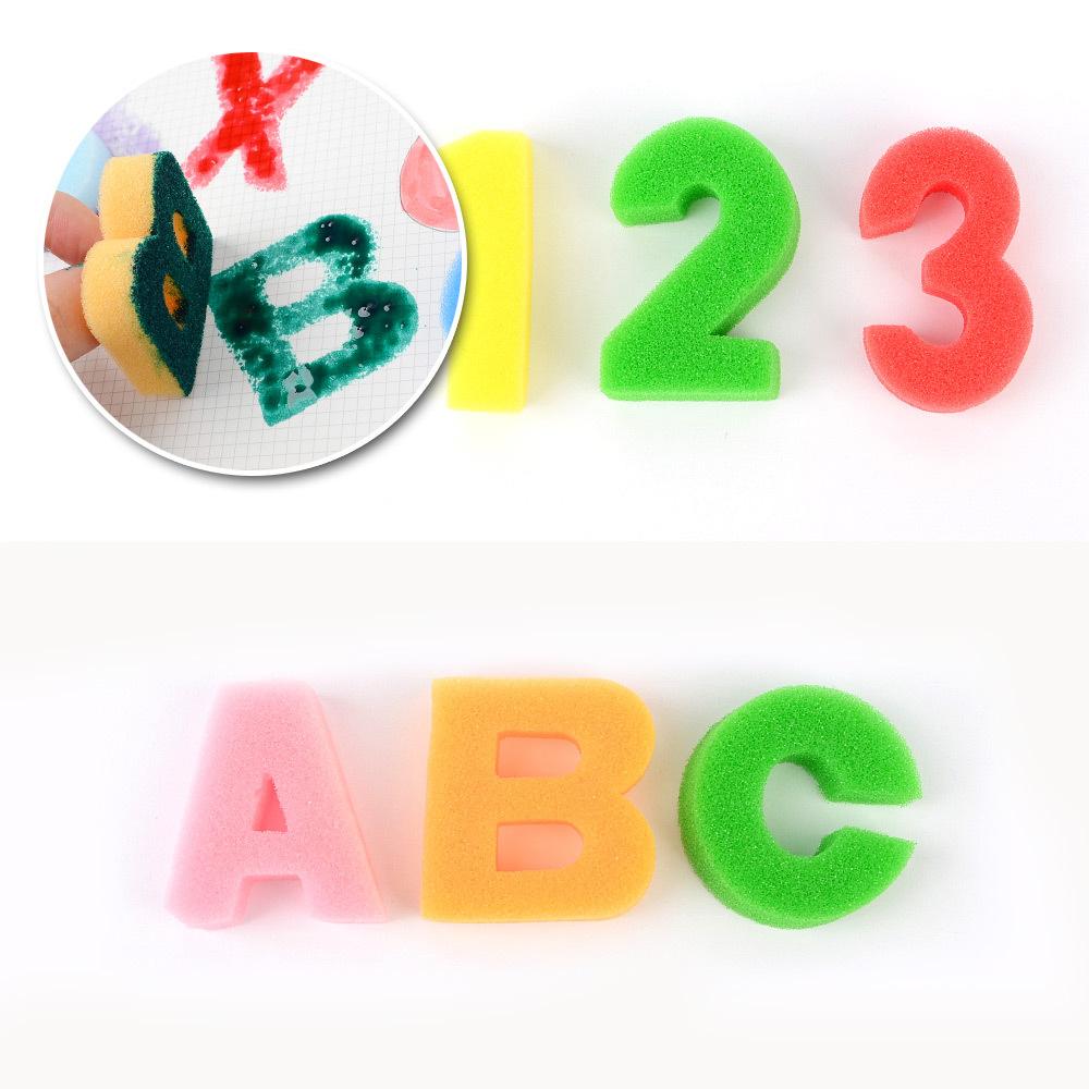 다용도 컬러 알파벳 숫자 스펀지 폭신폭신스티커 컬러스폰지 알파벳스폰지 숫자스폰지 교육용도장놀이