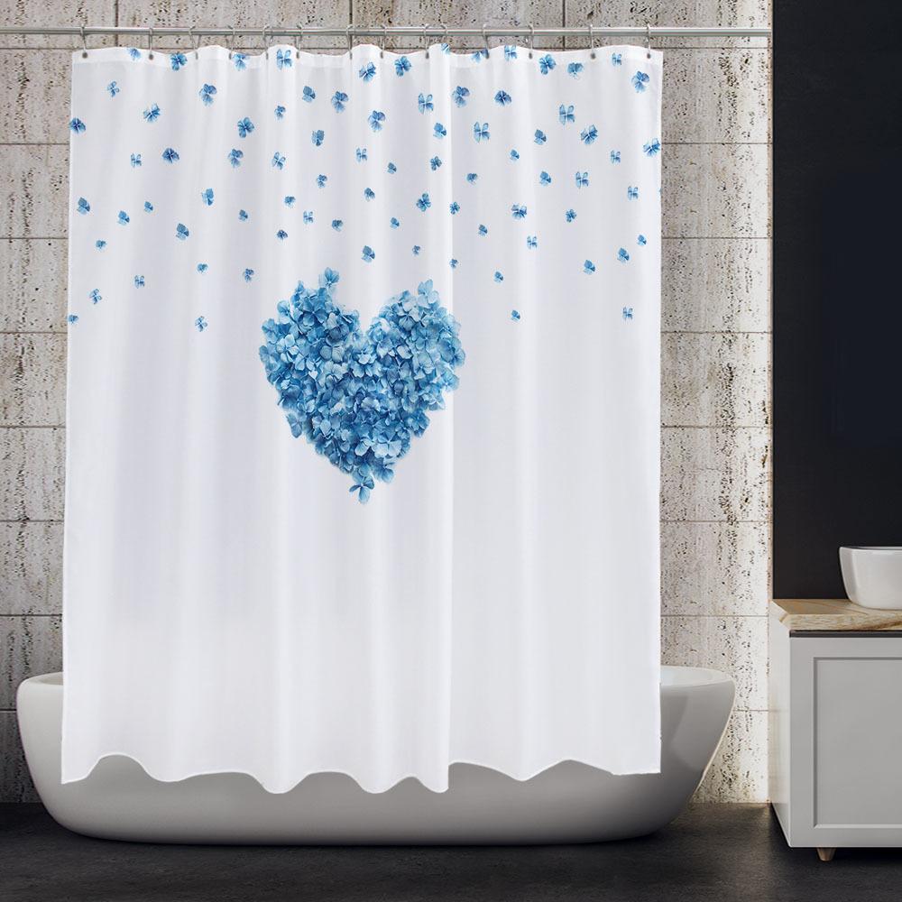 북유럽 패브릭 욕실 방수 샤워커튼 블루하트