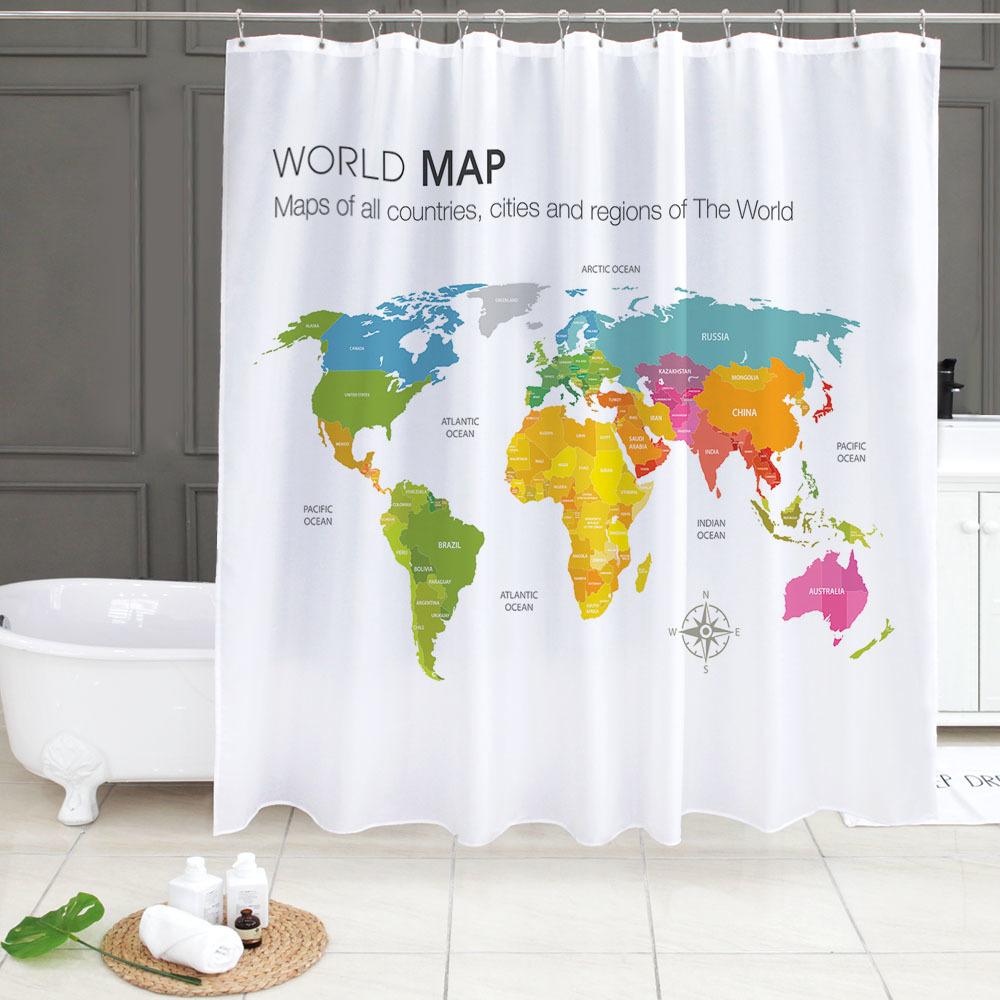 북유럽 패브릭 욕실 방수 샤워커튼 월드맵 컬러