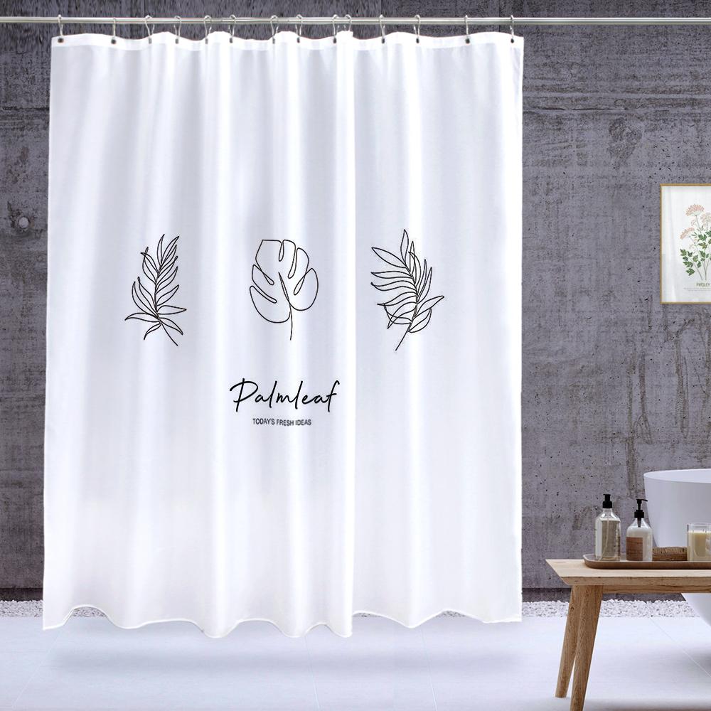 북유럽 패브릭 욕실 방수 샤워커튼 팜리프
