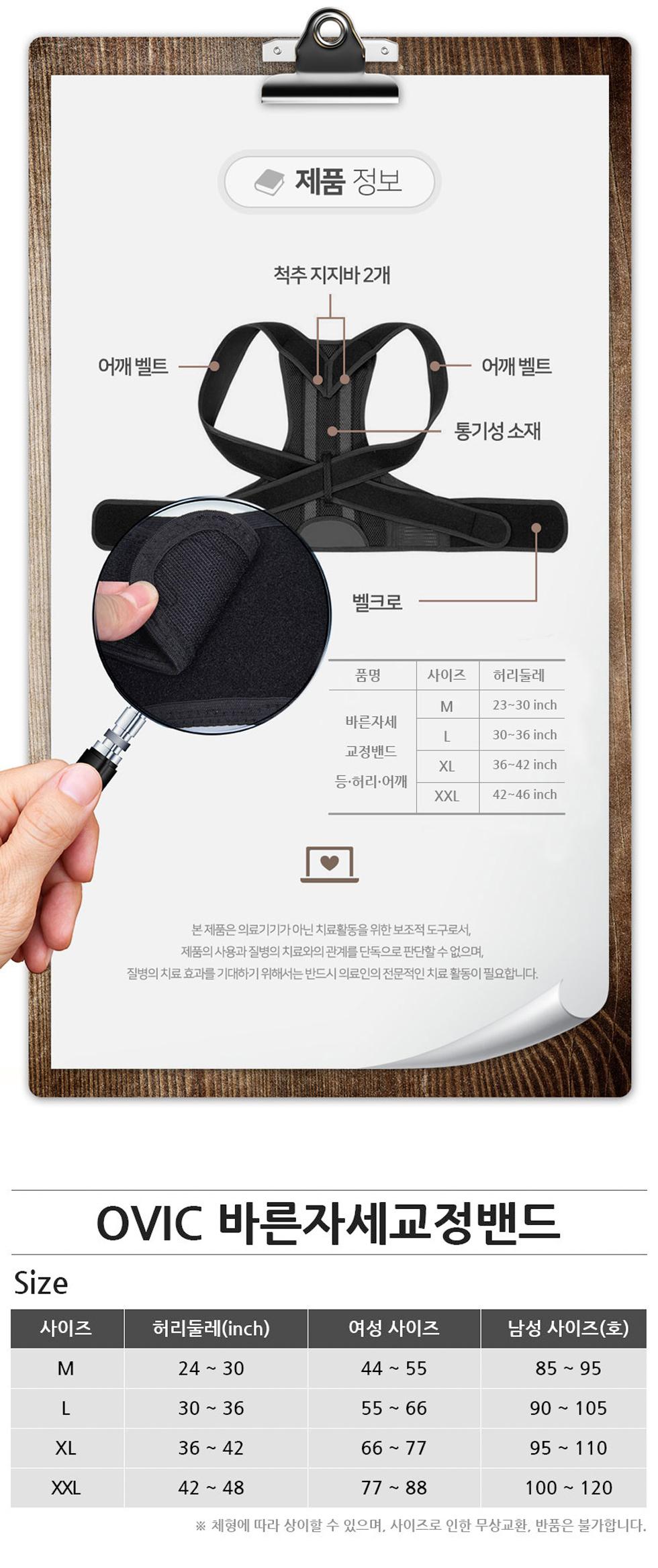 OVIC 자세교정밴드 (척추 허리 어깨 굽은등 교정) - 오빅, 29,900원, 안마/교정, 교정기구