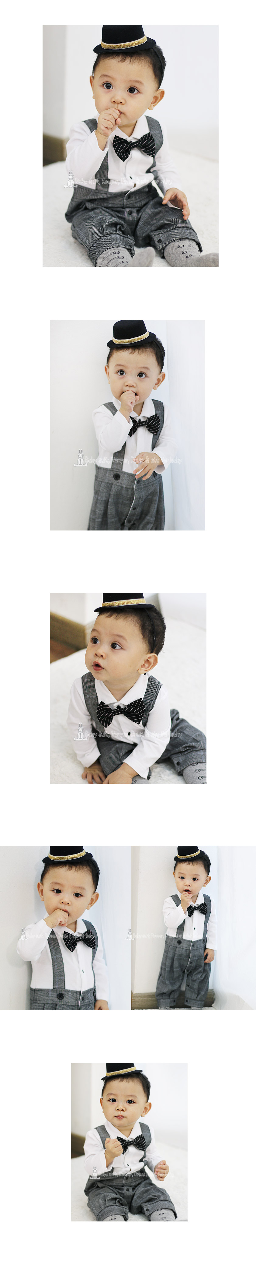 [ babymax ] [BABYMAX] 1271 Jade Bowtie Rompers / 100 Days Baby Suit Tuxedo