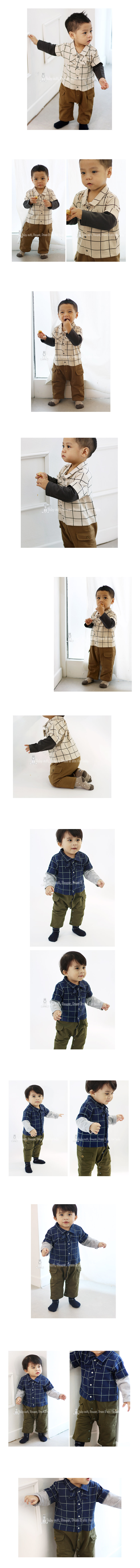 [ BABYMAX ] Baby Ribbon Check Shirt Rompers 1300