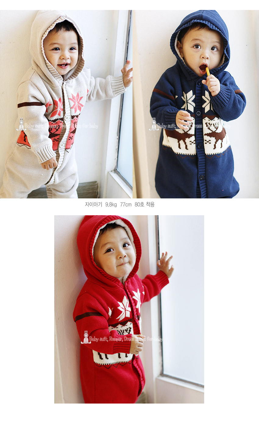 [ BABYMAX ] 7063 Nordic Knitted Hooded Rompers
