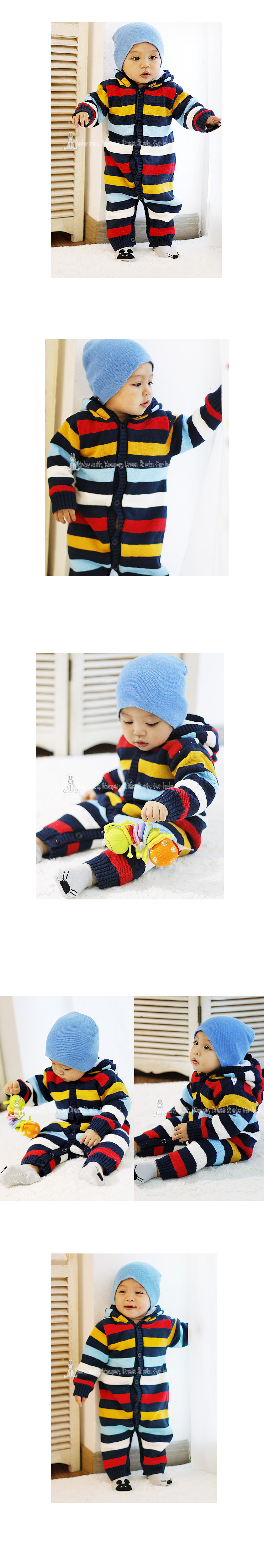 [ BABYMAX ] 7064 Rainbow Knit Hooded Rompers