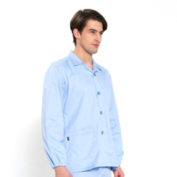 긴팔 TC32수 스판덱스 위생복 셔츠 남성용 스카이블루 FS-111