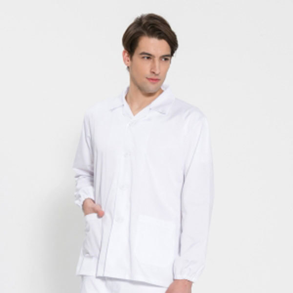 긴팔 TC32수 스판덱스 위생복 셔츠 남성용 화이트 FS-107