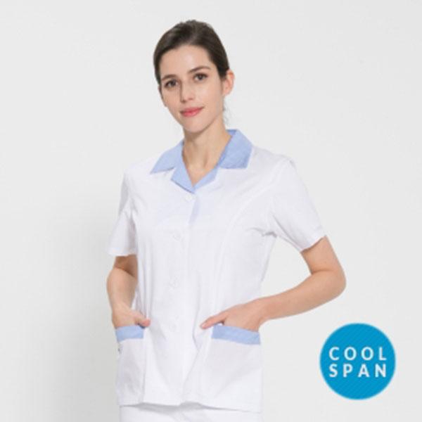 반팔 TC45수 쿨스판 위생복 셔츠 여성용 스카이블루체크 FS-118