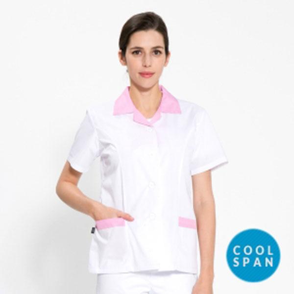 반팔 TC45수 쿨스판 위생복 셔츠 여성용 핑크체크 FS-116