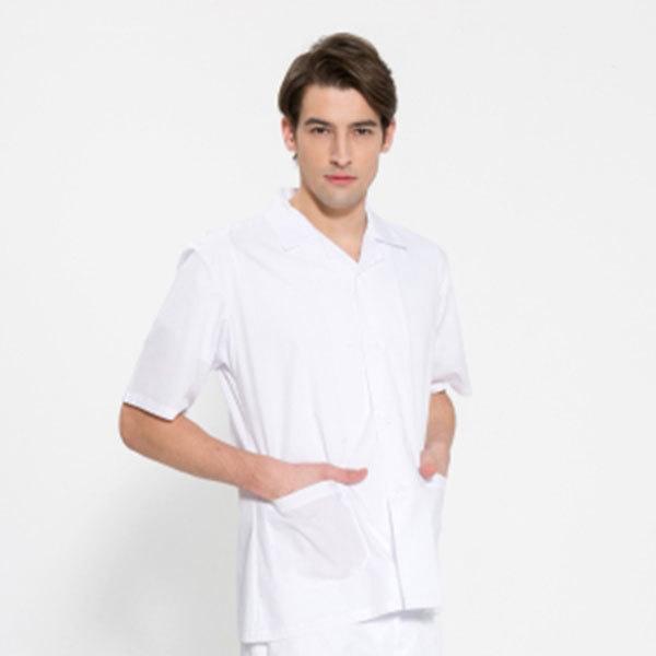 반팔 TC45수 스판덱스 위생복 셔츠 남성용 화이트 FS-108