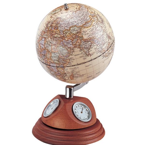 우드 5˝ 월넛원목지구본 온도계 습도계 시계 0967WJM
