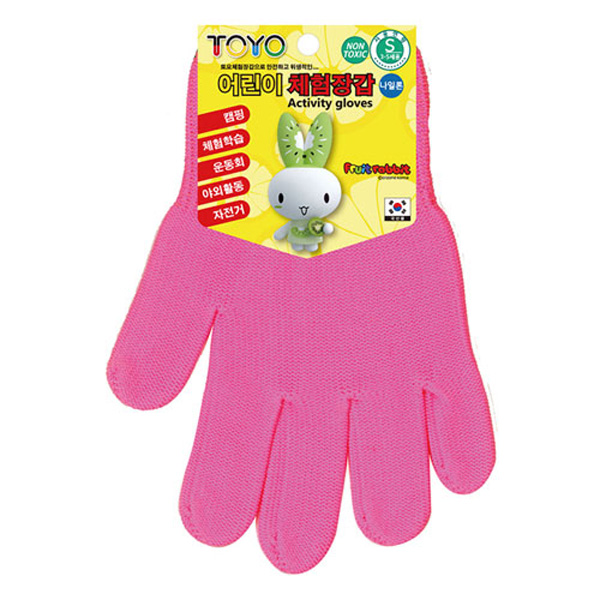 TOYO 어린이 체험장갑 3-5세용 형광핑크