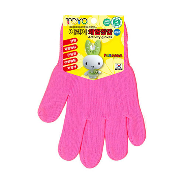 TOYO 어린이 체험장갑 5-7세용 형광핑크