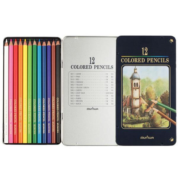 문화 넥스프로 색연필 12색 틴케이스