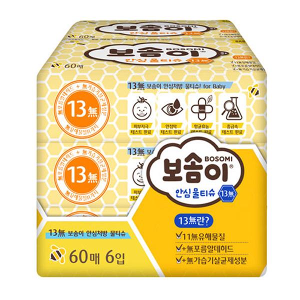 깨끗한나라 보솜이 안심물티슈13無 60매*6개입