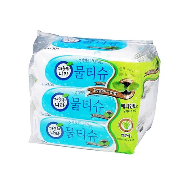 깨끗한나라 물티슈 휴대용 30매×3개