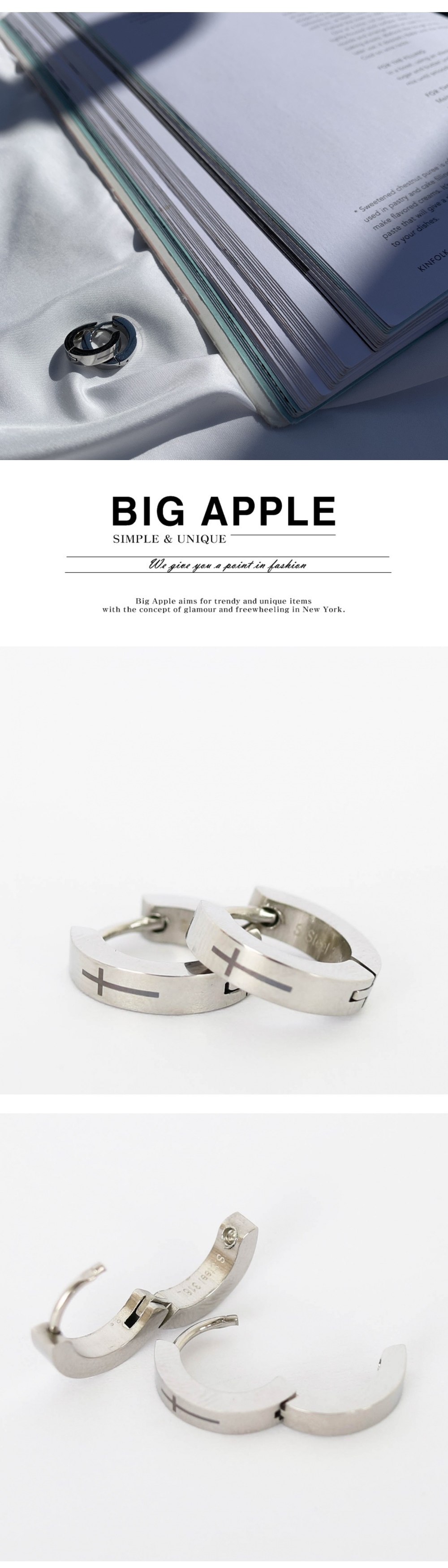 남자 귀걸이 써지컬 원터치 십자가 Cross one touch - 빅애플, 16,000원, 남성주얼리, 귀걸이