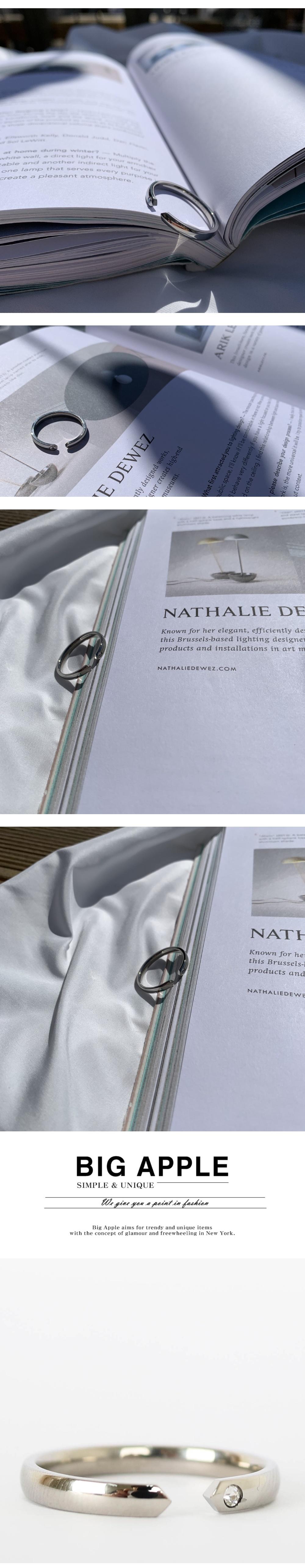 남자 반지 써지컬 큐빅 뱅글 cubic open silver - 빅애플, 30,000원, 남성주얼리, 반지