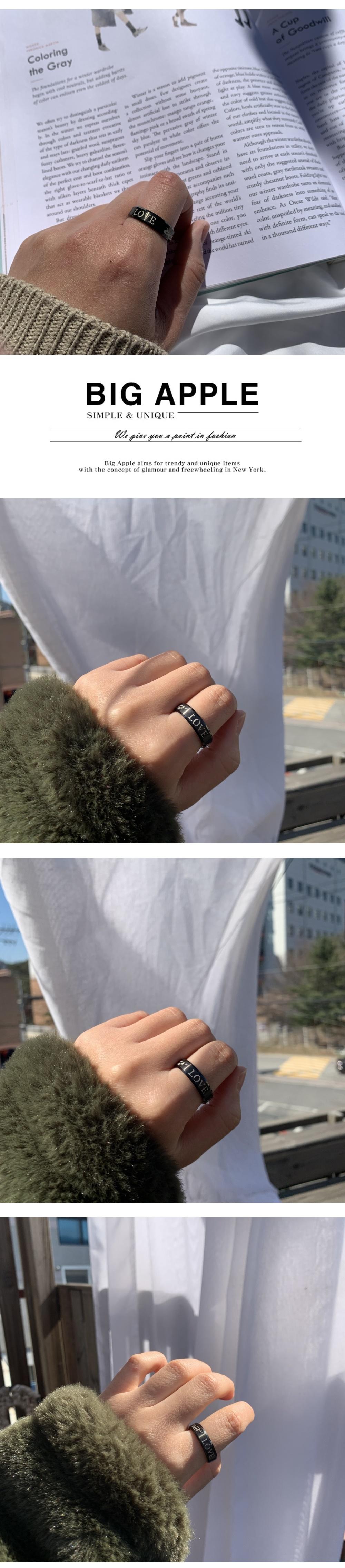 남자 블랙 반지 써지컬 레터링 love lettering - 빅애플, 17,000원, 남성주얼리, 반지