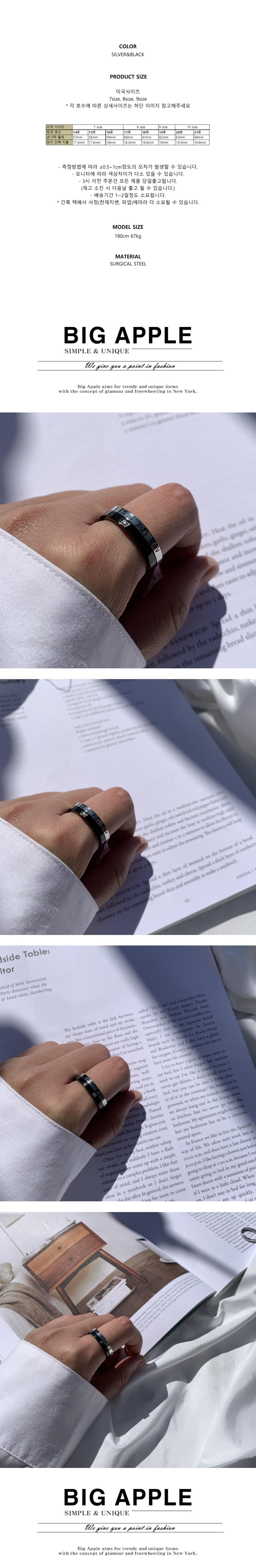 남자 반지 로마자 검지 써지컬 roma black cubic - 빅애플, 17,500원, 남성주얼리, 반지