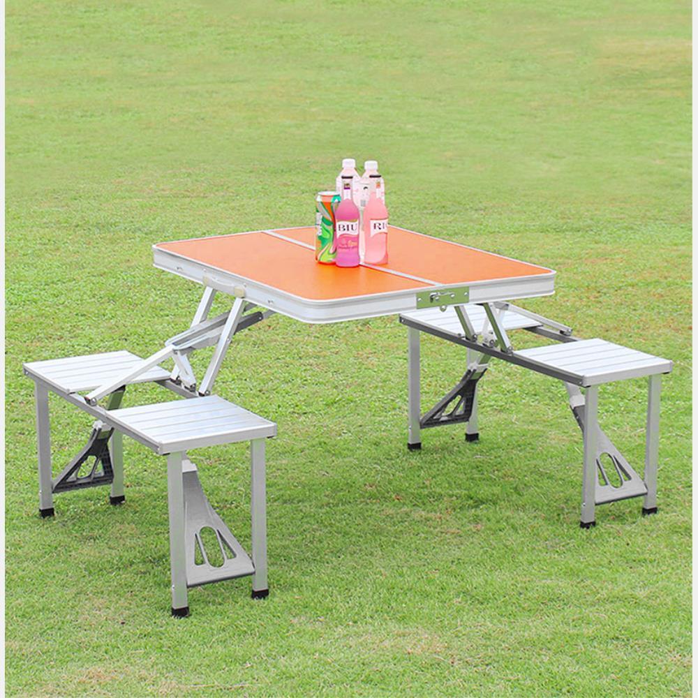 4인용 의자 일체형 접이식 캠핑 테이블(오렌지) 야외탁자