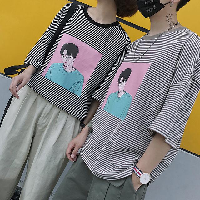 프린팅 스트라이프 반팔 티셔츠