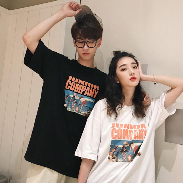 애니 프린팅 반팔 티셔츠