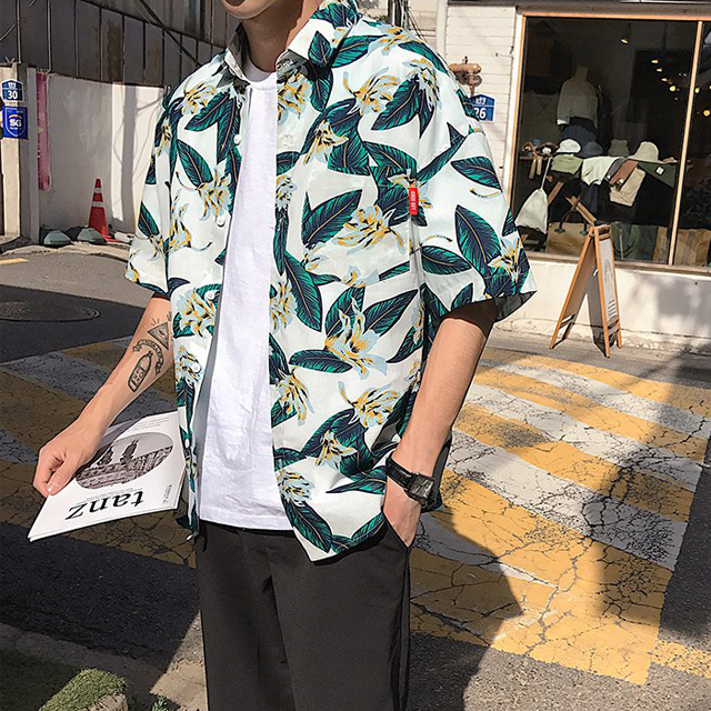 플라워 하와이안 반팔 셔츠