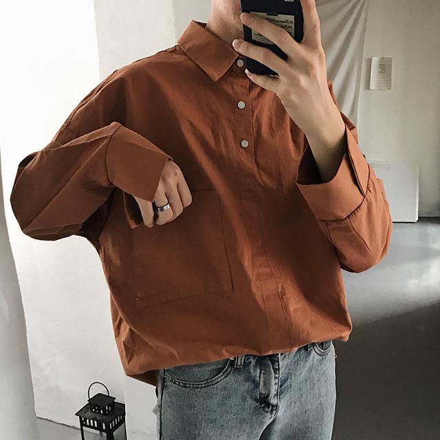 오버핏 헨리넥 셔츠