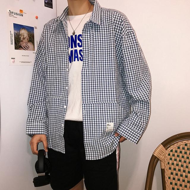 앞포켓 체크 셔츠