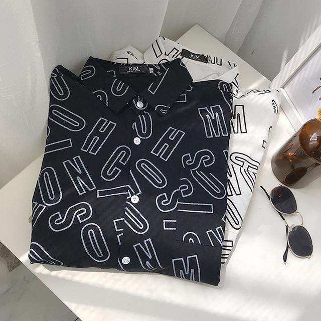 알파벳 프린팅 셔츠
