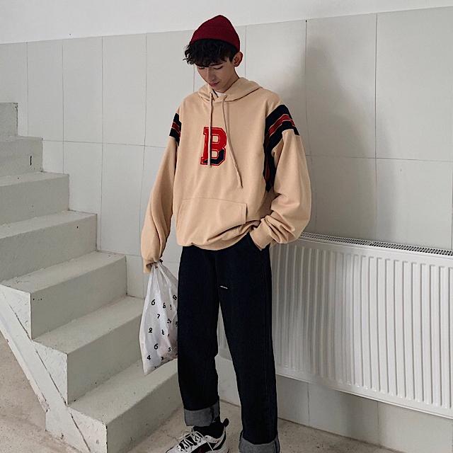 B 소매 컬러 후드 티셔츠