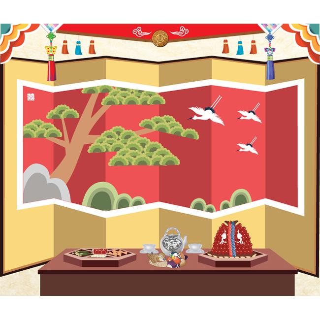 [키즈파람] 전통배경현수막017 - 폐백