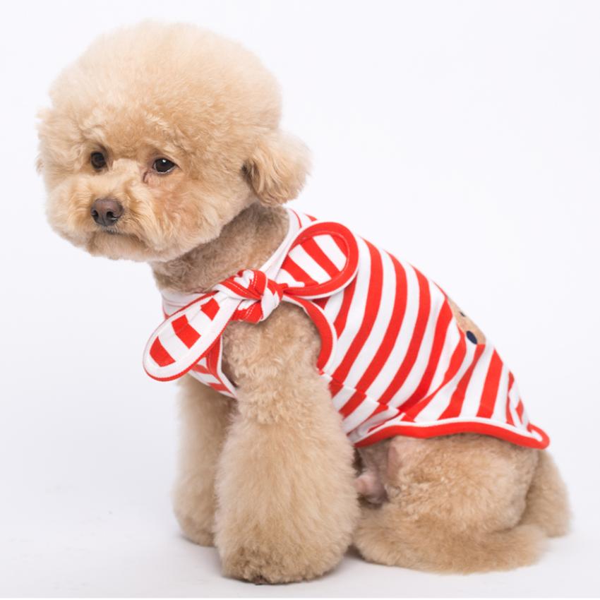 강아지 면소재 어깨 리본 스카프 레드색 티셔츠 의류 민소매 애견 L M XL 티