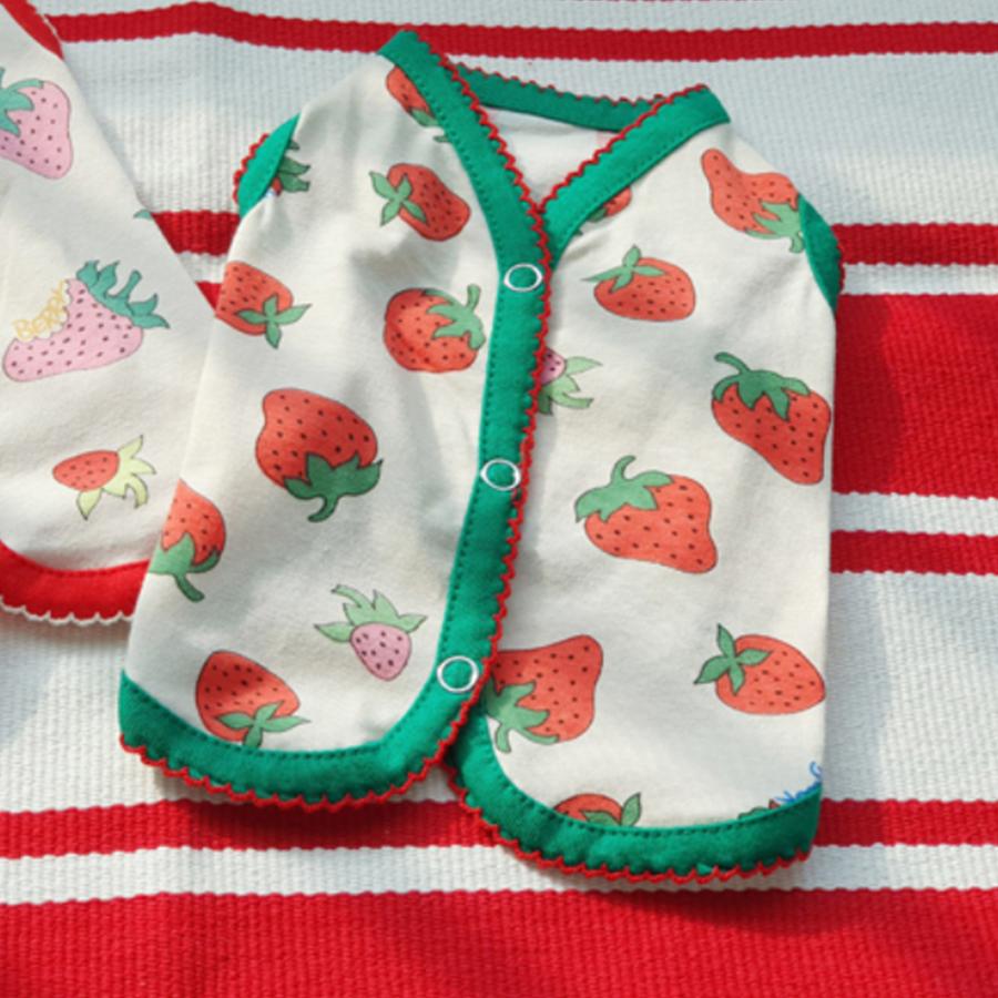그린 딸기패턴 단추 조끼 소형 중형 대형 강아지 수면조끼 실내복 옷