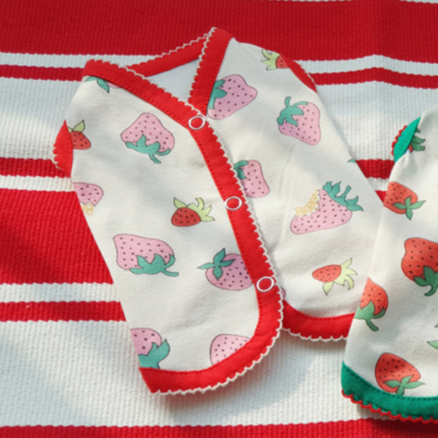 레드 딸기패턴 단추 조끼 소형 중형 대형 강아지 수면조끼 실내복 옷