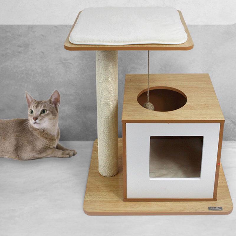 고양이 마이홈 스크래쳐 장난감 기둥형 방석 선반 박스 캣타워 원목 하우스